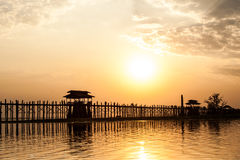 U Bein Bridge. Sunset at U Bein Bridge in Myanmar Royalty Free Stock Photo
