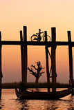 U bein bridge at Amarapura ,Mandalay, Myanmar. Sunset over U bein bridge at Amarapura ,Mandalay, Myanmar Royalty Free Stock Photos