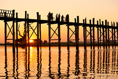 U bein bridge, Amarapura ,Mandalay, Myanmar. Royalty Free Stock Photos