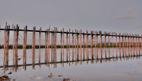 U Bein bridge. Amarapura. Mandalay region. Myanmar. U Bein Bridge is a crossing that spans the Taungthaman Lake near Amarapura in Myanmar Royalty Free Stock Photo