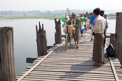 U Bein Bridge, Amarapura, Myanmar Royalty Free Stock Images