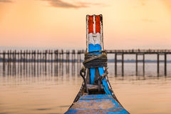 U-Bein Bridge from a Boat Royalty Free Stock Image