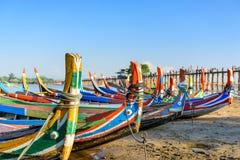 U Bein Bridge Boats Royalty Free Stock Photos
