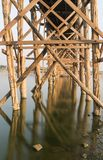 U Bein Bridge. Detail of a U Bein Bridge over Taungthaman Lake in Myanmar Stock Photos