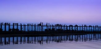 U Bein bridge at dusk, Myanmar Stock Images