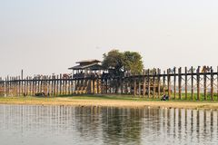 U Bein Bridge. Looking for some thing new angle stock image