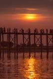 U Bein Bridge - Mandalay - Myanmar (Burma). U Bein Bridge at sunset. Amarapura near Mandalay in Myanmar (Burma). The footbridge, over Taungthaman Lake, was royalty free stock photos