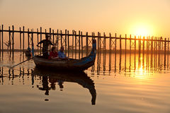 U Bein Bridge, Mandalay, Myanmar Stock Photos