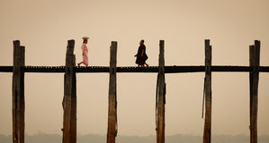 U Bein Bridge in Mandalay, Myanmar Stock Photo