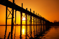 U Bein Bridge, Mandalay, Myanmar Stock Photo