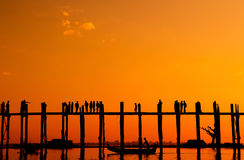 U Bein bridge, Myanmar. People walking by U Bein bridge, Mandalay, Myanmar Stock Image