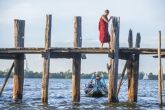U Bein Bridge Myanmar. AMARAPURA , MYANMAR - SEP 03 : The U Bein Bridge in Amarapura Myanmar on September 03 2017 , The 1.2 kilometre Bridge is the oldest and Royalty Free Stock Images