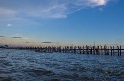 U Bein Bridge Myanmar. AMARAPURA , MYANMAR - SEP 03 : The U Bein Bridge in Amarapura Myanmar on September 03 2017 , The 1.2 kilometre Bridge is the oldest and Royalty Free Stock Photo