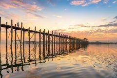 U-Bein Bridge of Myanmar Royalty Free Stock Photography