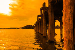 U Bein bridge in Myanmar Royalty Free Stock Image