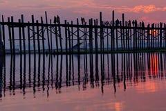 U bein bridge in Myanmar Royalty Free Stock Images