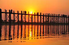 U Bein bridge (Myanmar, Burma) in sunset. U Bein bridge is one of the most famous tourist places in Myanmar (Burma Stock Image