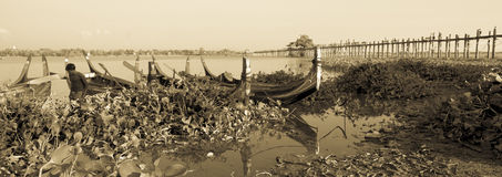 U Bein Bridge, in sepia tone. Stock Photo