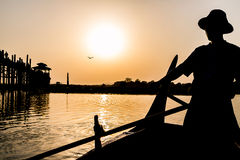 U Bein Bridge Silhouette, Myanmar Stock Photos