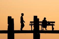 U Bein Bridge silhouette. U Bein Bridge during sunset, silhouette Royalty Free Stock Image