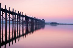 U bein bridge at sunrise , Mandalay , Myanmar. Choose location with water for create reflection royalty free stock photos