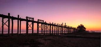 U Bein Bridge Sunrise Royalty Free Stock Images