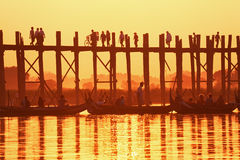 U Bein Bridge Sunset Stock Photos