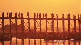 U Bein Bridge Sunset stock video footage