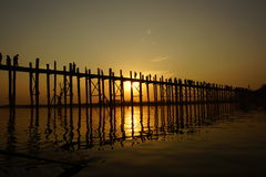 U bein bridge at sunset in Amarapura near Mandalay Royalty Free Stock Photos