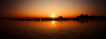 U Bein Bridge at sunset, Burma (Myanmar) Royalty Free Stock Photography