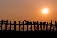 U Bein Bridge. Sunset at U Bein bridge, the longest teak bridge in the world at Mandalay, Myanmar Royalty Free Stock Photo