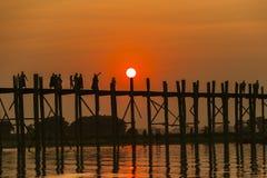 U bein bridge in sunset Royalty Free Stock Photos