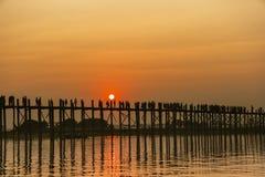 U bein bridge in sunset Royalty Free Stock Photography