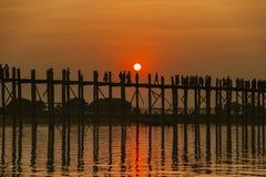 U bein bridge in sunset Royalty Free Stock Image