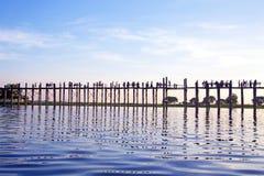 U Bein Bridge at sunset in Mandalay Myanmar. Stock Photos