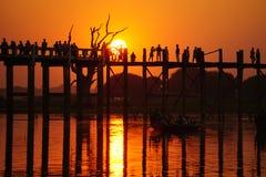 U Bein Bridge at sunset, Mandalay, Myanmar Royalty Free Stock Photos