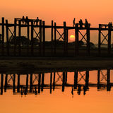 U Bein bridge at sunset, Myanmar Royalty Free Stock Photos
