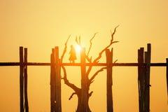 U bein bridge sunset Royalty Free Stock Image