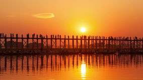 U Bein Bridge Sunset Time Lapse. Time lapse of the U Bein Bridge at sunset in Amarapura, Myanmar stock footage