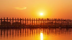 U Bein Bridge Sunset Time Lapse. Time lapse of the U Bein Bridge at sunset in Amarapura, Myanmar stock video