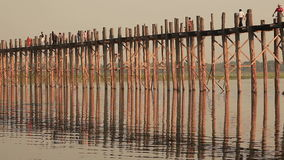 U Bein Bridge Sunset Time Lapse. Time Lapse of the famous U Bein Bridge at sunset in Amarapura, Myanmar stock video
