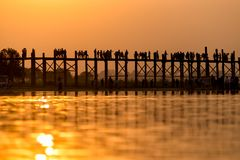 U Bein Bridge at sunset. Waiting sunset time for great light royalty free stock photography