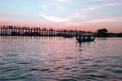 U-Bein bridge teak bridge in Mandalay Myanmar Stock Photo