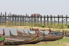 U bein Brigde, Amarapura Myanmar. Locals having a stroll on U Bein Bridge Stock Photography