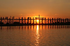 U Bein brug | Mandalay, Myanmar Royalty-vrije Stock Fotografie