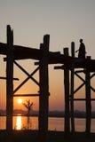U Bein Brug, Myanmar Stock Foto