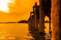 U bein brug in myanmar royalty-vrije stock afbeelding
