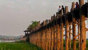 U Bein most, Amarapura, Myanmar Birma zdjęcie royalty free