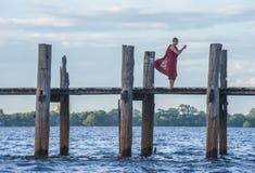 U Bein most Myanmar Zdjęcia Royalty Free