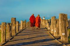U Bein most Taungthaman Jeziorny Amarapura Myanmar Obrazy Royalty Free